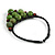 Statement Dusty Green Resin Ball, Black Rubber Cord Bib Necklace - 52cm L - view 8