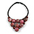 Statement Dusty Pink Resin Ball, Black Rubber Cord Bib Necklace - 52cm L