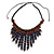 Statement Wood Cord Fringe Neklace In Dark Blue and Brown - Adjustable