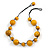 Yellow Wood Bead Black Cotton Cord Necklace - 52cm Long