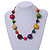 Multicoloured Wood Bead Black Cotton Cord Necklace - 52cm Long - view 2