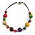 Multicoloured Wood Bead Black Cotton Cord Necklace - 52cm Long - view 3