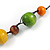 Multicoloured Wood Bead Black Cotton Cord Necklace - 52cm Long - view 5
