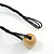 Multicoloured Wood Bead Black Cotton Cord Necklace - 52cm Long - view 6