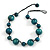 Teal Green Wood Bead Black Cotton Cord Necklace - 52cm Long