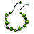 Lime Green Wood Bead Black Cotton Cord Necklace - 52cm Long