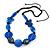 Signature Wood, Ceramic, Acrylic Bead Black Cord Necklace (Dark Blue/ Blue) - 60cm L (Adjustable)