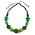 Romantic Butterfly Beaded Black Cord Necklace in Green - 56cm L - Adjustable - view 3