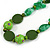 Romantic Butterfly Beaded Black Cord Necklace in Green - 56cm L - Adjustable - view 4