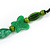 Romantic Butterfly Beaded Black Cord Necklace in Green - 56cm L - Adjustable - view 5