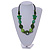 Romantic Butterfly Beaded Black Cord Necklace in Green - 56cm L - Adjustable - view 2