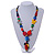 Chunky Multicoloured Resin, Ceramic, Wood Bead Black Cord Tassel Necklace - 66cm L/ 11cm Tassel - view 2