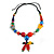 Chunky Multicoloured Resin, Ceramic, Wood Bead Black Cord Tassel Necklace - 66cm L/ 11cm Tassel - view 3