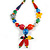 Chunky Multicoloured Resin, Ceramic, Wood Bead Black Cord Tassel Necklace - 66cm L/ 11cm Tassel - view 4