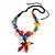 Chunky Multicoloured Resin, Ceramic, Wood Bead Black Cord Tassel Necklace - 66cm L/ 11cm Tassel