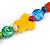 Chunky Multicoloured Resin, Ceramic, Wood Bead Black Cord Tassel Necklace - 66cm L/ 11cm Tassel - view 6