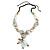 Chunky White/ Black/ Nude Resin, Ceramic, Wood Bead Black Cord Tassel Necklace - 66cm L/ 11cm Tassel