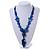 Chunky Blue Resin, Ceramic Bead Black Cord Tassel Necklace - 66cm L/ 11cm Tassel - view 2