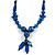 Chunky Blue Resin, Ceramic Bead Black Cord Tassel Necklace - 66cm L/ 11cm Tassel - view 4