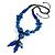 Chunky Blue Resin, Ceramic Bead Black Cord Tassel Necklace - 66cm L/ 11cm Tassel - view 3