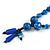 Chunky Blue Resin, Ceramic Bead Black Cord Tassel Necklace - 66cm L/ 11cm Tassel - view 10