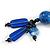 Chunky Blue Resin, Ceramic Bead Black Cord Tassel Necklace - 66cm L/ 11cm Tassel - view 5