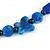 Chunky Blue Resin, Ceramic Bead Black Cord Tassel Necklace - 66cm L/ 11cm Tassel - view 6