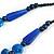 Chunky Blue Resin, Ceramic Bead Black Cord Tassel Necklace - 66cm L/ 11cm Tassel - view 9