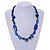Blue Ceramic, Glass, Wood and Resin Beads Black Cord Necklace - 55cm L - view 2
