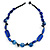 Blue Ceramic, Glass, Wood and Resin Beads Black Cord Necklace - 55cm L - view 3