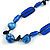 Blue Ceramic, Glass, Wood and Resin Beads Black Cord Necklace - 55cm L - view 4