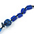 Blue Ceramic, Glass, Wood and Resin Beads Black Cord Necklace - 55cm L - view 5