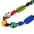 Multicoloured Ceramic, Glass, Wood and Resin Beads Black Cord Necklace - 55cm L - view 3