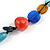Multicoloured Ceramic, Glass, Wood and Resin Beads Black Cord Necklace - 55cm L - view 4