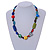Multicoloured Ceramic, Glass, Wood and Resin Beads Black Cord Necklace - 55cm L - view 2