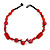 Carrot Red Ceramic, Glass, Wood and Raspberry Red Resin Beads Black Cord Necklace - 55cm L - view 7