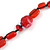 Carrot Red Ceramic, Glass, Wood and Raspberry Red Resin Beads Black Cord Necklace - 55cm L - view 3