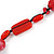 Carrot Red Ceramic, Glass, Wood and Raspberry Red Resin Beads Black Cord Necklace - 55cm L - view 4