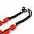 Carrot Red Ceramic, Glass, Wood and Raspberry Red Resin Beads Black Cord Necklace - 55cm L - view 6