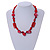Carrot Red Ceramic, Glass, Wood and Raspberry Red Resin Beads Black Cord Necklace - 55cm L - view 2