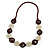 Milky White Ceramic and Brown Wood Bead Necklace - 74cm Long - view 3