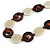 Milky White Ceramic and Brown Wood Bead Necklace - 74cm Long - view 4