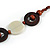 Milky White Ceramic and Brown Wood Bead Necklace - 74cm Long - view 6
