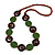 Bottle Green Ceramic and Brown Wood Bead Necklace - 74cm Long