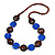 Blue Ceramic and Brown Wood Bead Necklace - 74cm Long