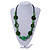 Statement Ceramic/ Wood/ Resin Bead Black Cotton Cord Necklace (Green) - 70cm L - view 2