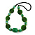Statement Ceramic/ Wood/ Resin Bead Black Cotton Cord Necklace (Green) - 70cm L - view 3
