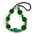Statement Ceramic/ Wood/ Resin Bead Black Cotton Cord Necklace (Green) - 70cm L - view 4
