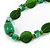 Statement Ceramic/ Wood/ Resin Bead Black Cotton Cord Necklace (Green) - 70cm L - view 5