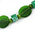 Statement Ceramic/ Wood/ Resin Bead Black Cotton Cord Necklace (Green) - 70cm L - view 6